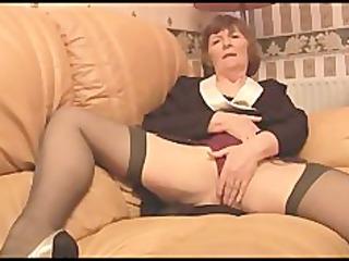 furry old inside pantyhose plays with panties