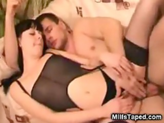 horny lady sucking and device gang-banging
