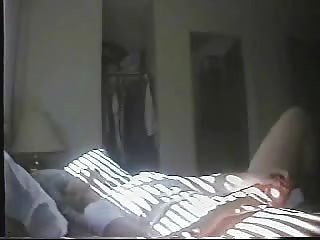 mummy pushing dildo on bed. hidden cam