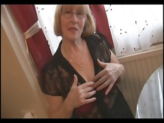 albino old into stockings does a tiny striptease
