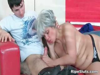 desperate cougar amp sucks on difficult cock