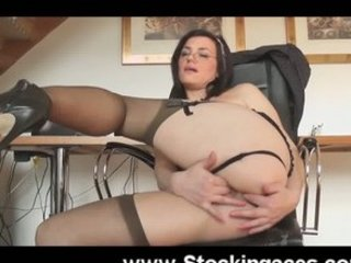 mature babe into bureau sex toy pierce