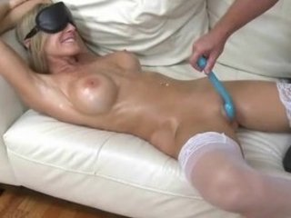 barbie petite lady is blindfolded, rubbed and
