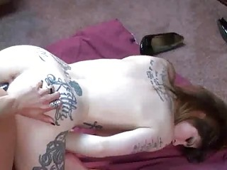 tattooed indigo shares a dong with a naughty lady