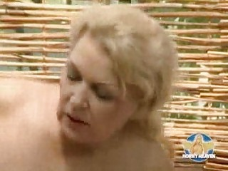 bleached german mother with chest piercing