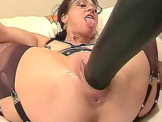 young lady fisted and banged with a giant plastic