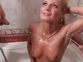 two grandpas drilling and pissing on blonde