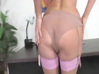super albino milf in thigh high pantyhose obtains