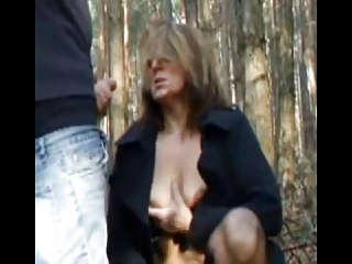 cum on horny grownup outside by troc
