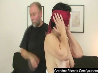 granny lady takes young cock for her birthday