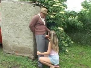 horny granny boy having outside porn with horny