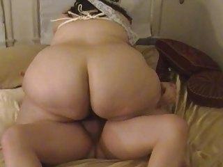 chubby woman licks &; gangbangs with tied up boobs