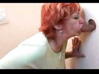ginger older  gangbanged through gloryhole