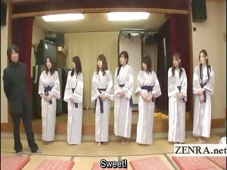 subtitled bunch  of japanese woman go naked for