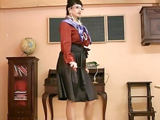 woman inside glasses and satin nylons takes busty