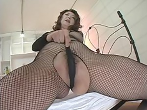 japanese woman inside brown fishnets masturbation