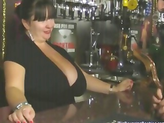 chubby italian grownup barmaid with large bossom