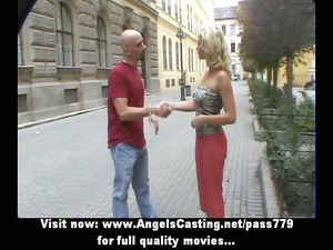 sporty blonde lovely talking with big boy in