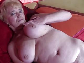 elderly inside nylons goes naked and spreads
