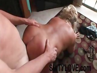 chubby blond older  is taking drilled from behind