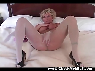 bleached lady inside stockings rubbing kitty