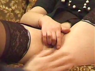 grownup brunette massages her vagina and obtains