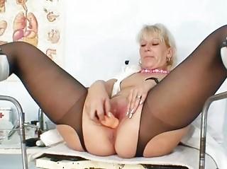 pale mature babe into latex uniform extreme sex
