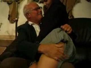 grand dad and father punch their bad young slut