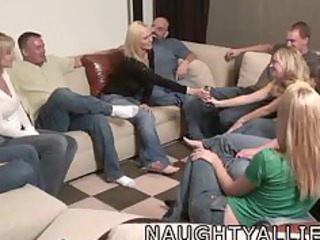 party game leads to a giant group fuck swinger