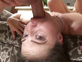 wonderful brunette woman with glasses licks on