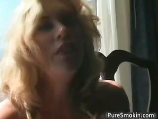surprising pale mature babe smokes cigarette