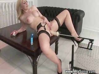 blond mature babe and a copulate machine