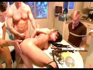 blond wife thrown on kitchen table and pierced