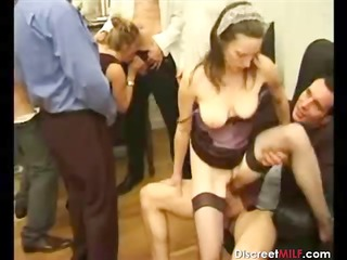 group of dudes on lone older  whore