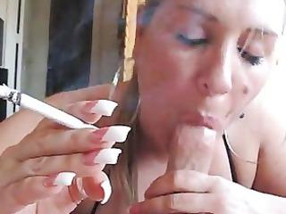 mature babe smoking bj