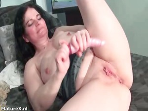 horny busty brunette babe drills her part4