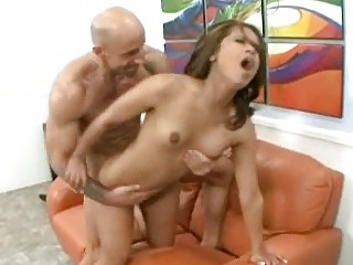 muscular male banging his woman and yells