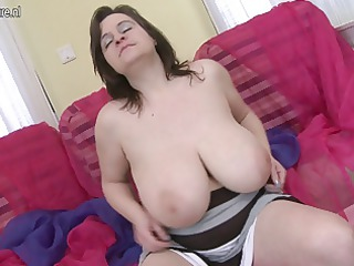 horny english woman shows off awesome rack and