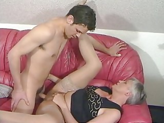 grey haired granny into stockings gangbangs the