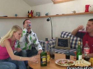partying men tease horny bleached elderly and