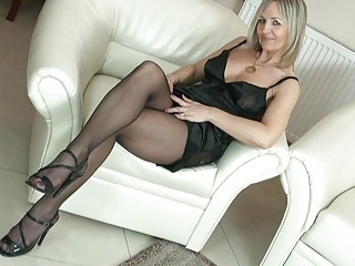 hot bleached woman into nylons uncovers her anal