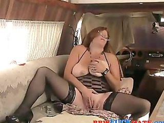 granny older plays with vibrators and smokes