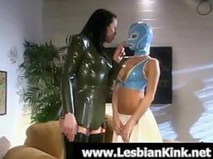 lesbians in rubber jeans spanking booty