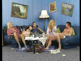 busty grownup blonde amateurs in a super foursome