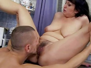 naughty elderly obtains fucked into the dining